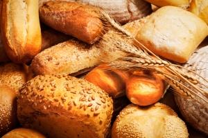 在特种出炉的面包照明的拼盘