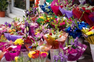 flowers outside a florists shop.
