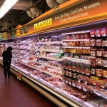 Promolux's fresh vibrant colors in a multi-deck meat case