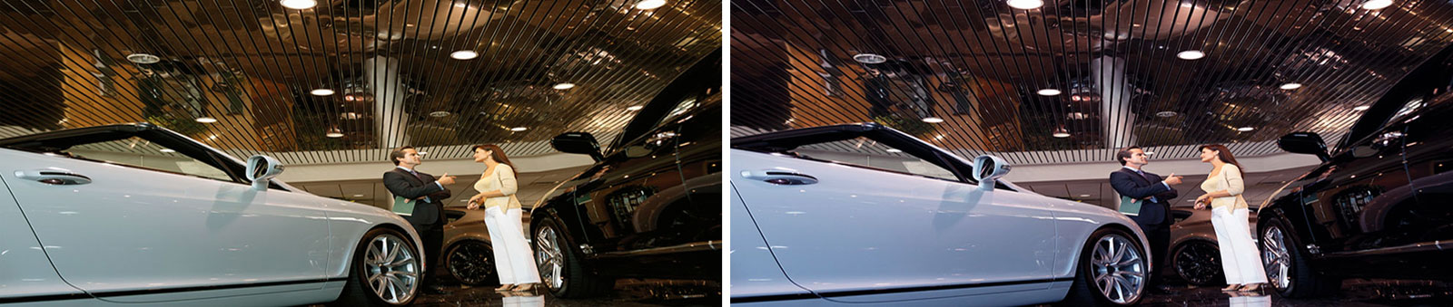 Car Showroom merchandised with regular LEDs (left pic) compared with Promolux LEDs (right pic)