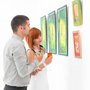 Man and Woman Viewing Art