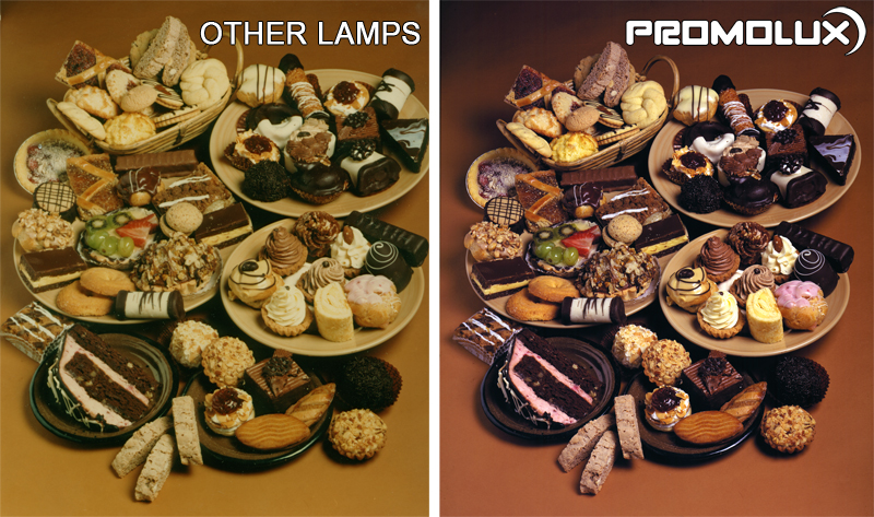 Compare regular lighting and Promolux for baked goods. Superior bakery lighting. Bakery display case lighting. Lighting for pastries, cookies and cakes.