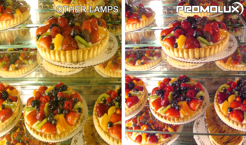 Supermarket Bakery Lighting. Compare regular lighting and Promolux LED Lighting for baked goods like pies and cakes. Bakery display case lighting. Cake, Pie and Dessert lighting.