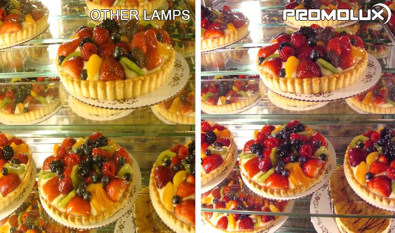 Supermarket Bakery Lighting. Compare regular lighting and Promolux LED Lighting for baked goods like pies and cakes. Bakery display case lighting. Cake, Pie and Dessert lighting.