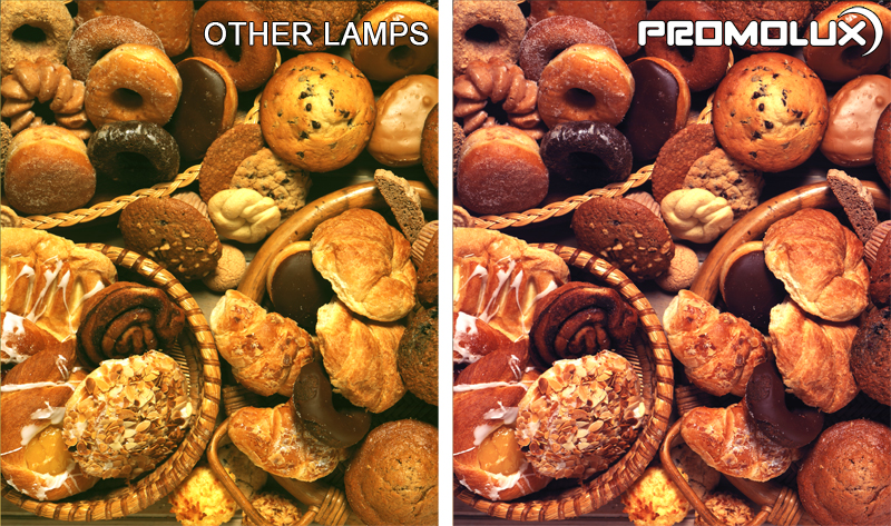 Compare regular lighting and Promolux for baked goods. Quality lighting for muffins, tarts, and danishes. Bakery lighting with improved color.