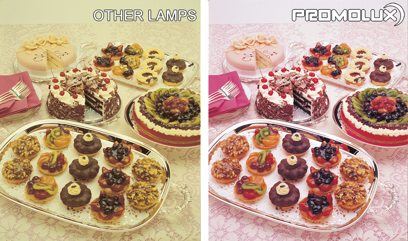 Compare regular lighting and Promolux for baked goods. Dessert display case lighting for pastries, cakes, pies.