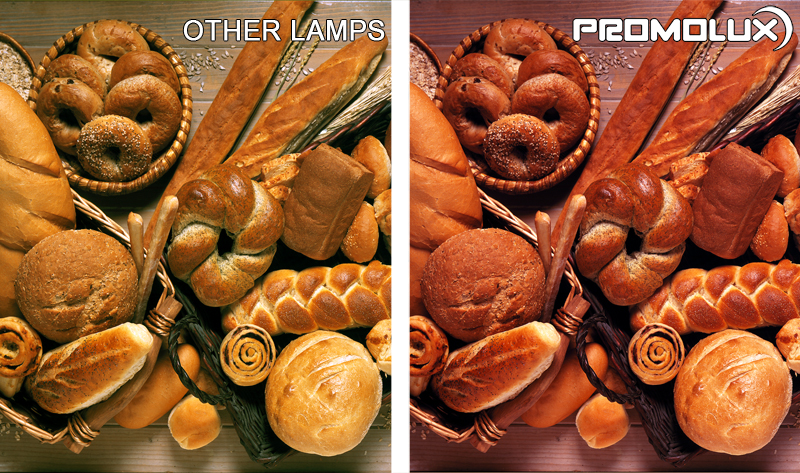 Compare regular lighting and Promolux for baked goods. Exceptional bread lighting. Bread and bakery display case lighting. Lighting for rolls, buns, loafs and danishes.