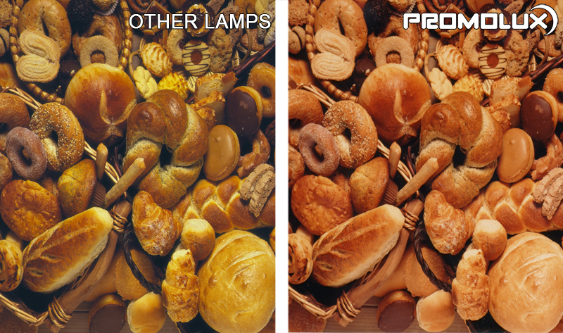 Compare regular lighting and Promolux for baked goods. Bread display case lighting. Lighting for baked goods such as rolls, breads, and buns.