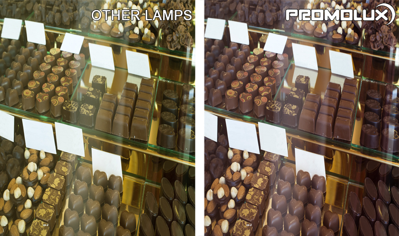 Chocolate Shop Display Case Lighting Comparison. Chocolate Display Case Lighting. Chocolate and sweet lighting from Promolux LEDs