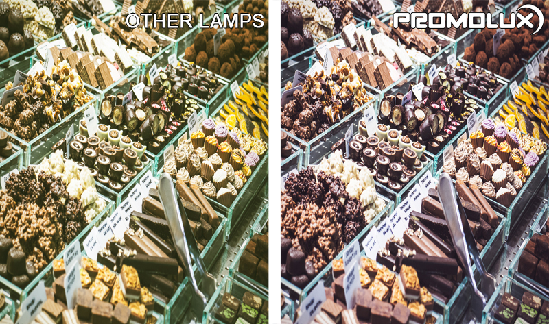 See the different Promolux LED Lighting makes in your chocolate retail display cases. Chocolate looks amazing with our quality lighting, and Promolux LEDs slows down the blooming of chocolate.