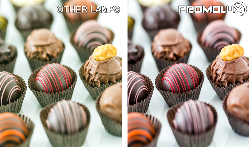 Compare Promolux LED Lighting with regular lights and the difference in your chocolate shop display lighting. Simply the best with Promolux.