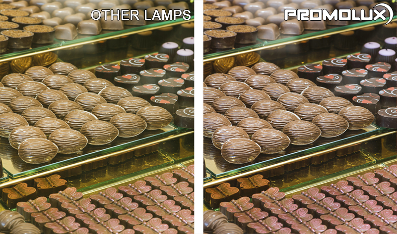 Side by side, you can see the difference between Promolux LED lights and normal lights for Chocolate display cases in supermarkets and convenience stores.
