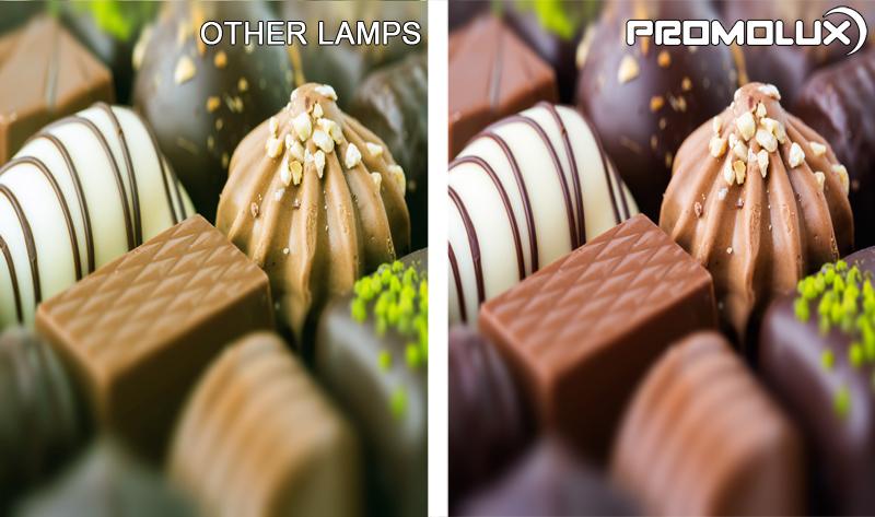 Chocolate Display for Supermarket Lighting - Promolux LED lights versus regular lighting . Chocolate Display Case Lighting. Chocolate and candy lighting from Promolux