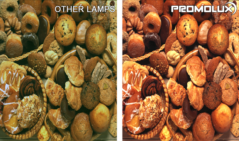 Donut Shop Display Lighting - Compare lighting from Promolux LED lighting versus regular lighting for donuts, cakes, cookies, pastries and more.