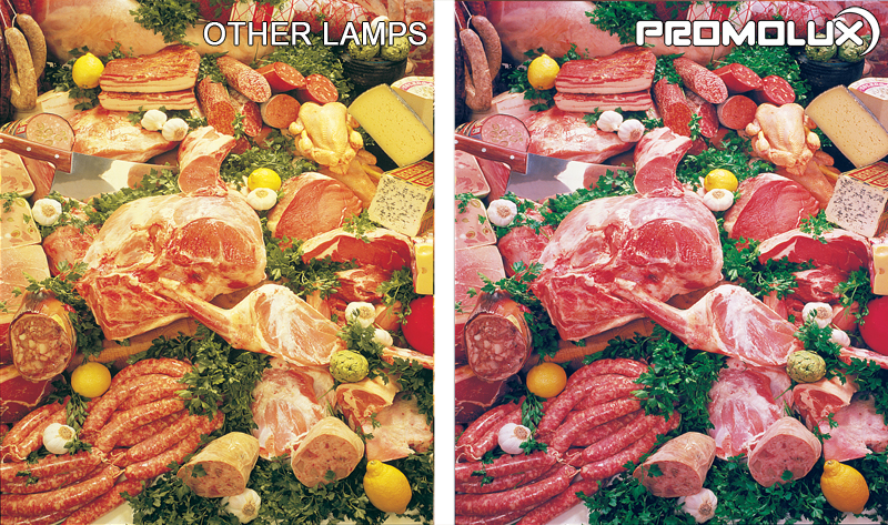 Grocery Store Meat and Deli Display Case Lighting - check out the difference between Promolux LED lighting for meat and deli display cases and regular lights. You can see the difference - improve sales and shelf life with Promolux