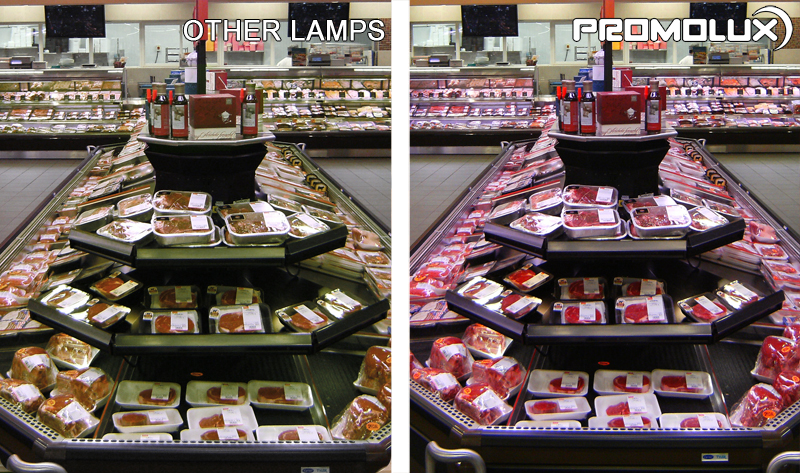 Meat and Deli Supermarket Lighting for Display Cases - see the different Promolux LED Lighting makes in your meat and deli retail cases. Superior quality lighting from Promolux for deli cuts, beef, sausage, and ham.
