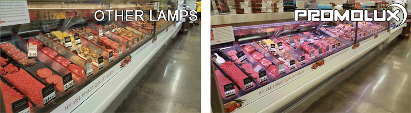 Grocery Store  Meat and Deli Lighting - Compare Promolux LED Lighting with regular lights and the difference in your meat and prepared deli shop display lighting. Simply the best with Promolux.