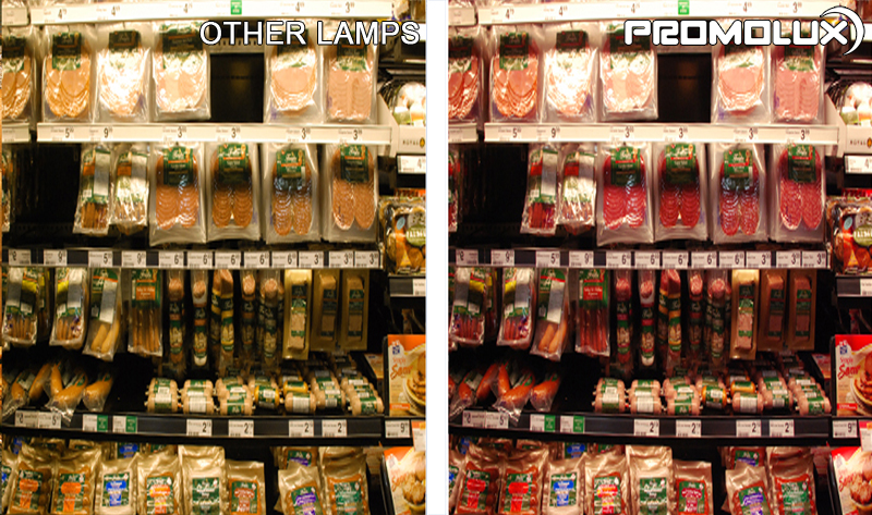 Meat and Deli Supermarket Display Case Lighting - see the different Promolux LED Lighting makes in your meat and deli retail cases. Superior quality lighting from Promolux LEDs for deli cuts, beef, sausage, and ham.