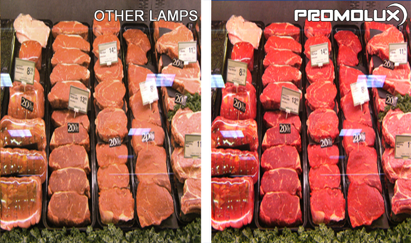 Grocery Store Display Case Meat and Deli Lighting - Compare Promolux LED Lighting with regular lights and the difference in your meat and prepared deli shop display lighting. Simply the best with Promolux.