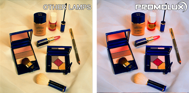 Non-Perishable Lighting for Costmetics and Makeup. Retail Display Lighting. Display your makeup, cosmetics, lipstick, rouge, blush and other beauty products with superior Promolux LED lighting. Look your best with Promolux.