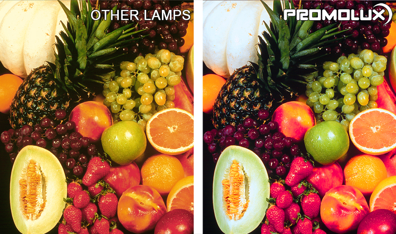 Fruit Display Case Lighting - Compare fruits such as strawberries, melons, apples, oranges and grapes, under Promolux LED lighting versus regular lighting. You can clearly see the difference with Promolux.