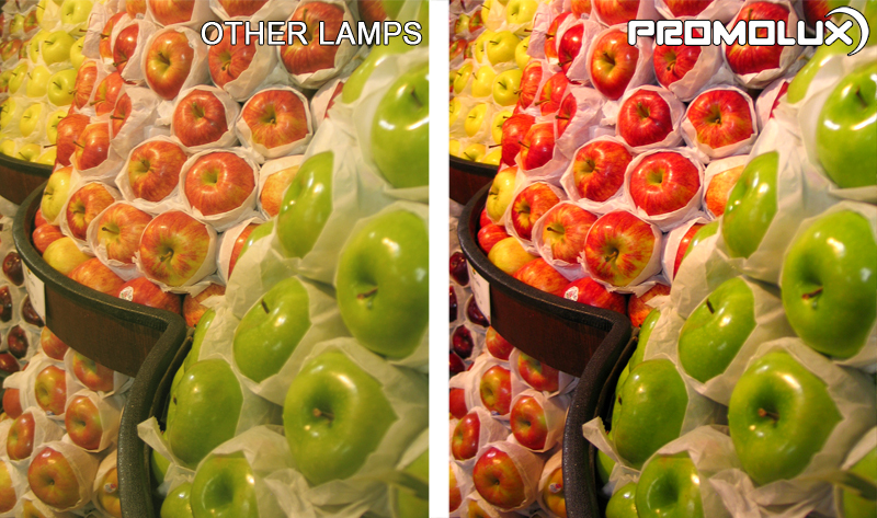 Compare Promolux LED Lighting with regular lights for produce such as fresh apple displays and the difference in your lighting. And in your sales.