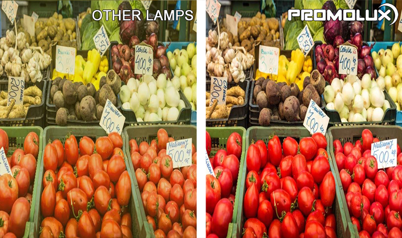 Vegetable Display Case Lighting - Compare vegetables such as carrots, califlower, peppers, onions and lettuce, under Promolux versus regular lighting. You can clearly see the difference with Promolux LEDs.