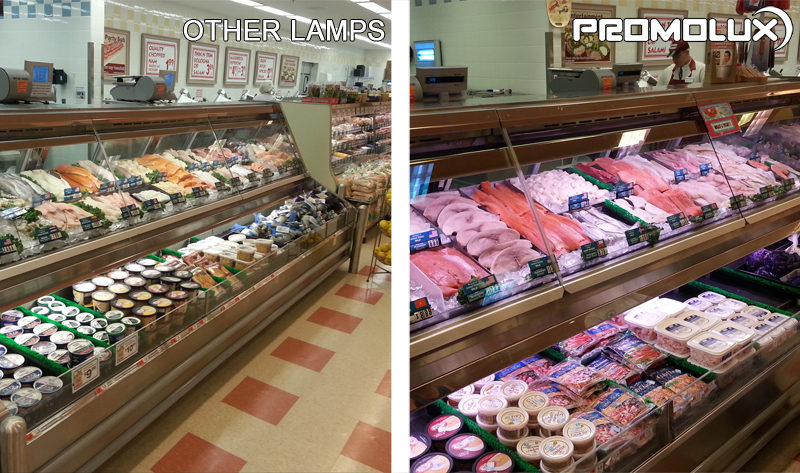 Compare Promolux LED Lighting with regular lights and the difference in your seafood shop display lighting. Simply the best choice for vibrant color, increased shelf life, and improved sales.